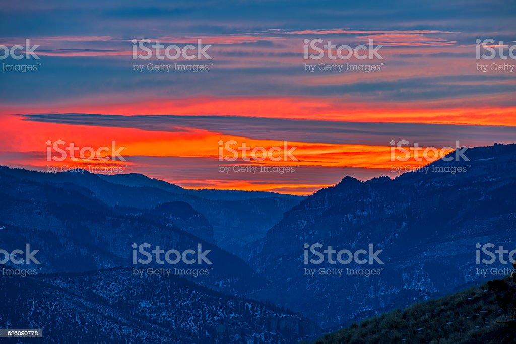 Glenwood Canyon Landscape Sunset stock photo