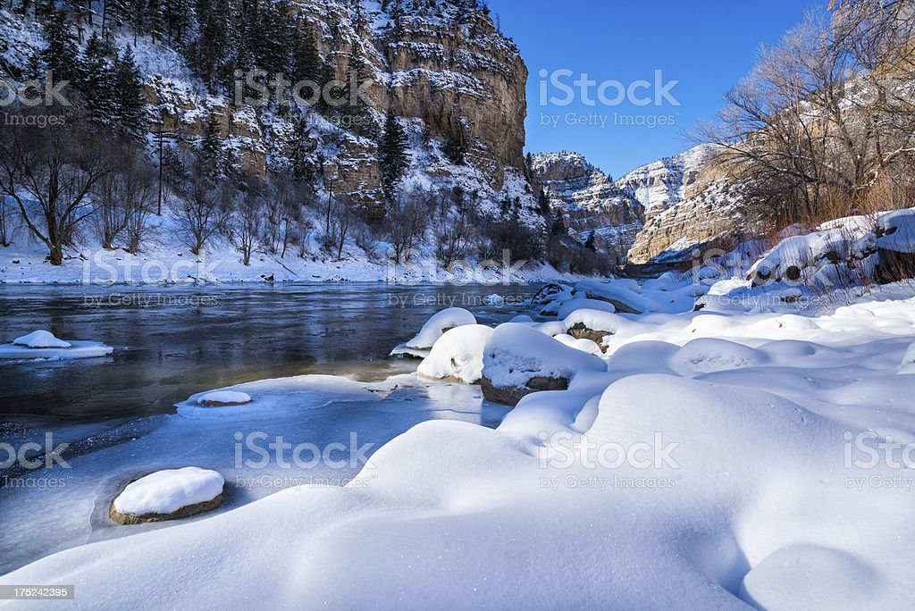 Glenwood Canyon Scenic Area in Winter stock photo