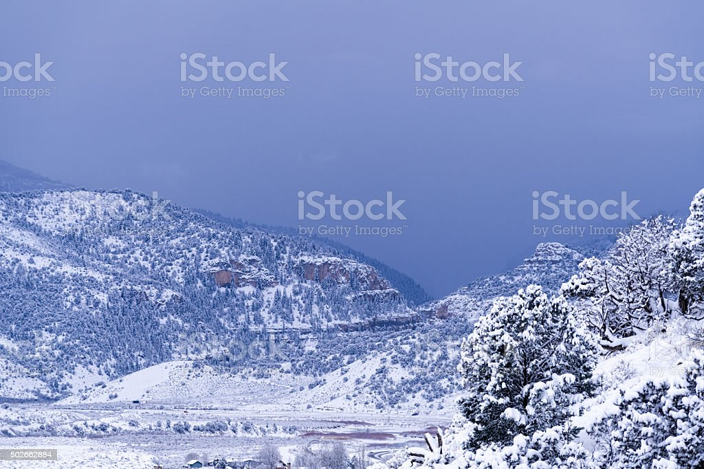 Glenwood Canyon with Fresh Snow stock photo