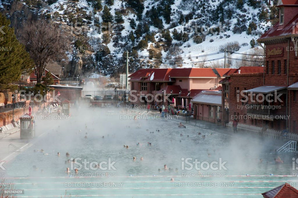 Glenwood Hot Springs in Winter stock photo