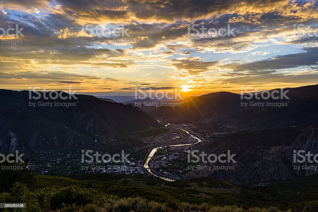 Glenwood Springs at Sunset Mountrain View stock photo