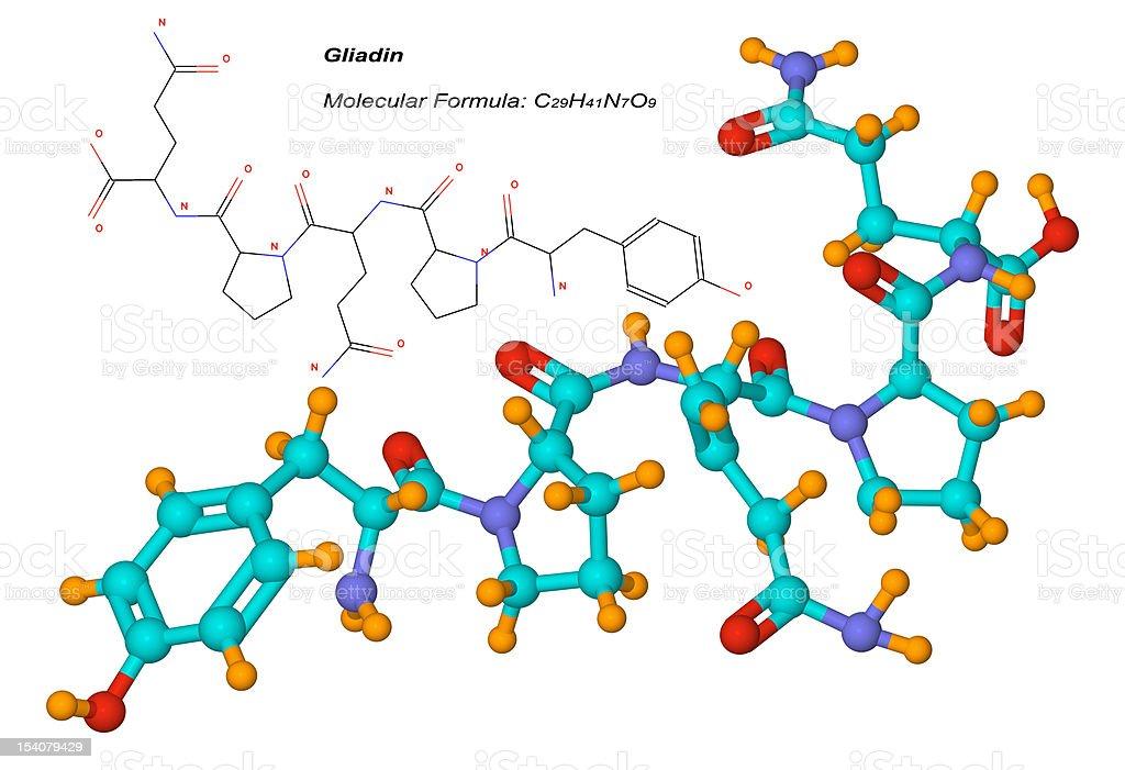 gliadin molecule, component of gluten stock photo