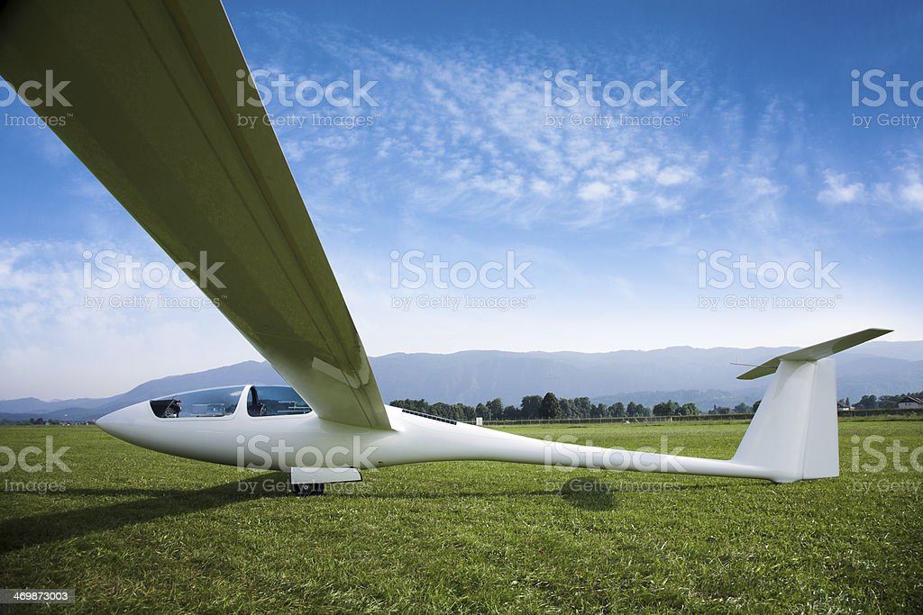 glider aircraft with open canopy stock photo