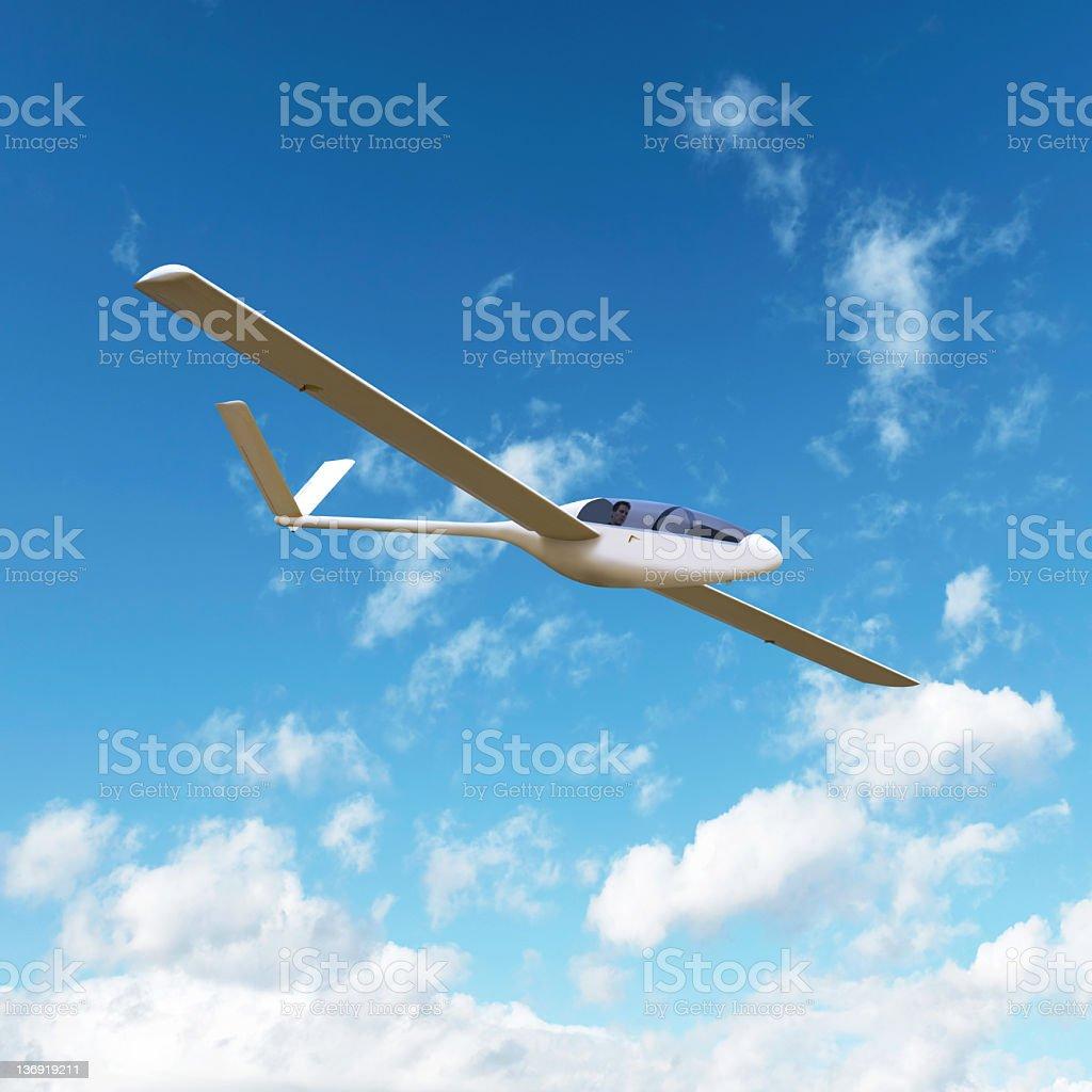XL glider airplane soaring stock photo