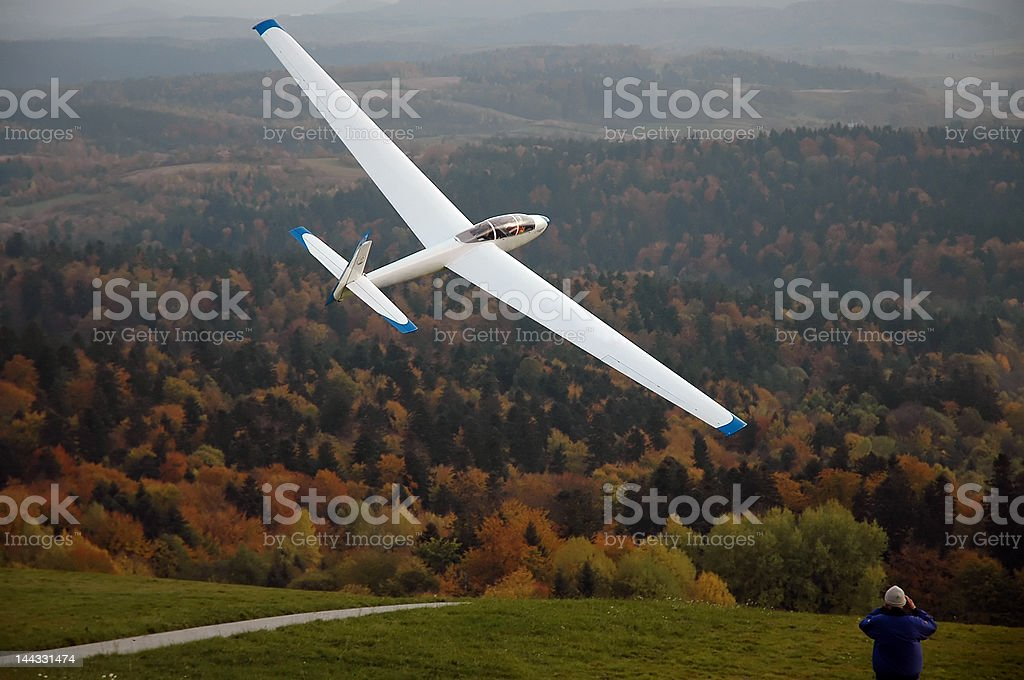 Glider being catapulted. stock photo