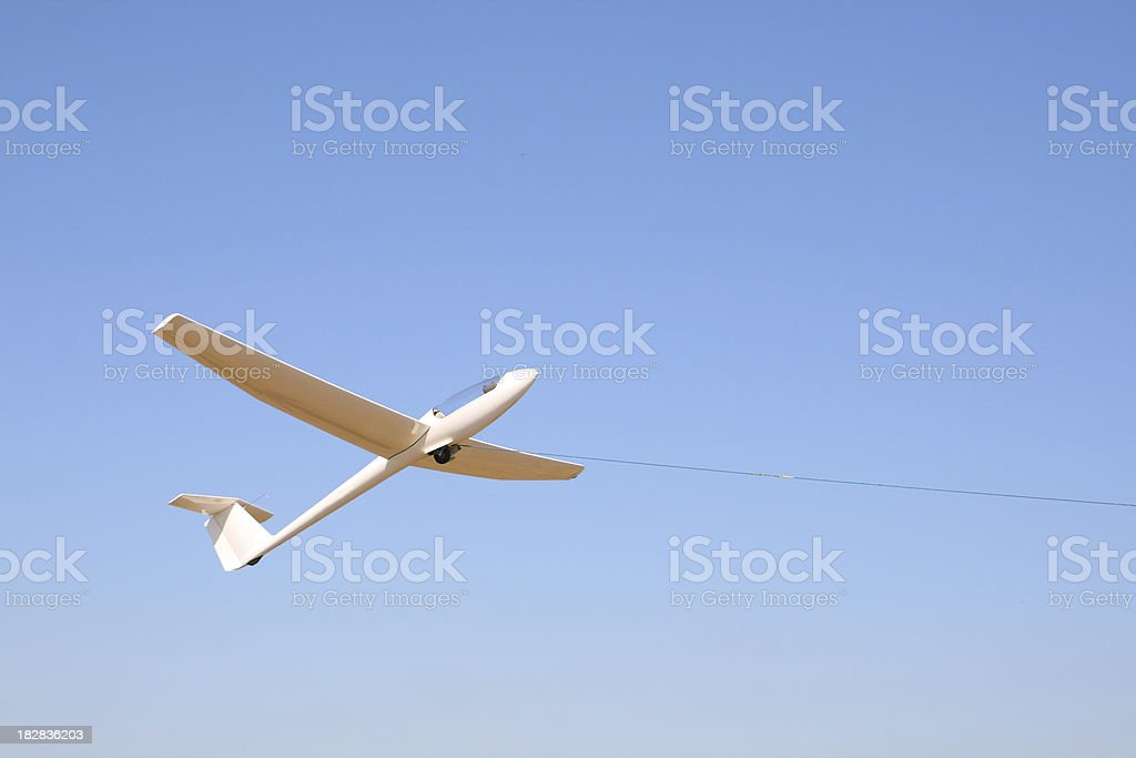 Glider being towed for take off stock photo