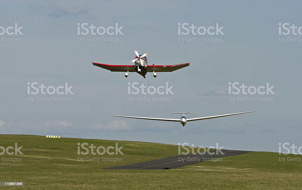 Glider Being Towed stock photo