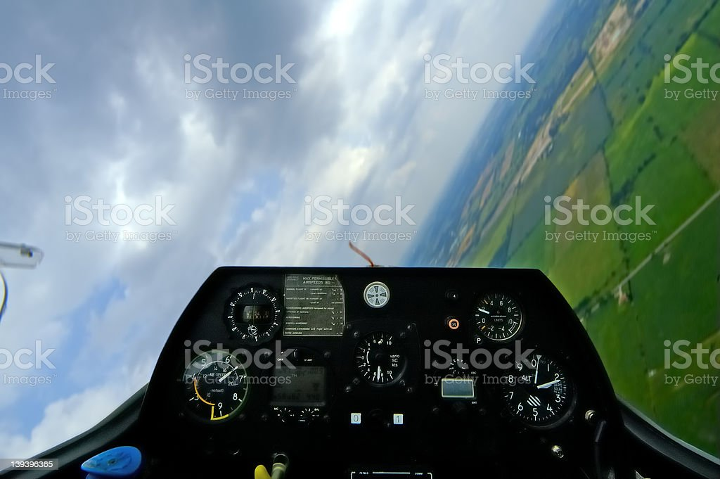Glider Cockpit Tilt w/Paths stock photo
