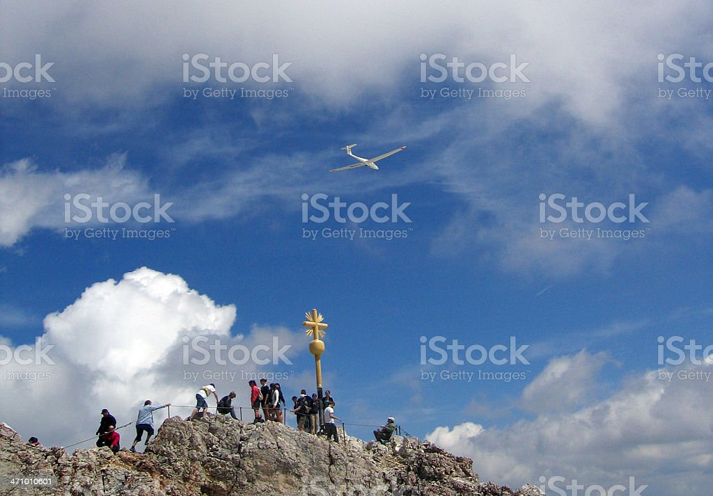 Glider on the summit of Zugspitze royalty-free stock photo