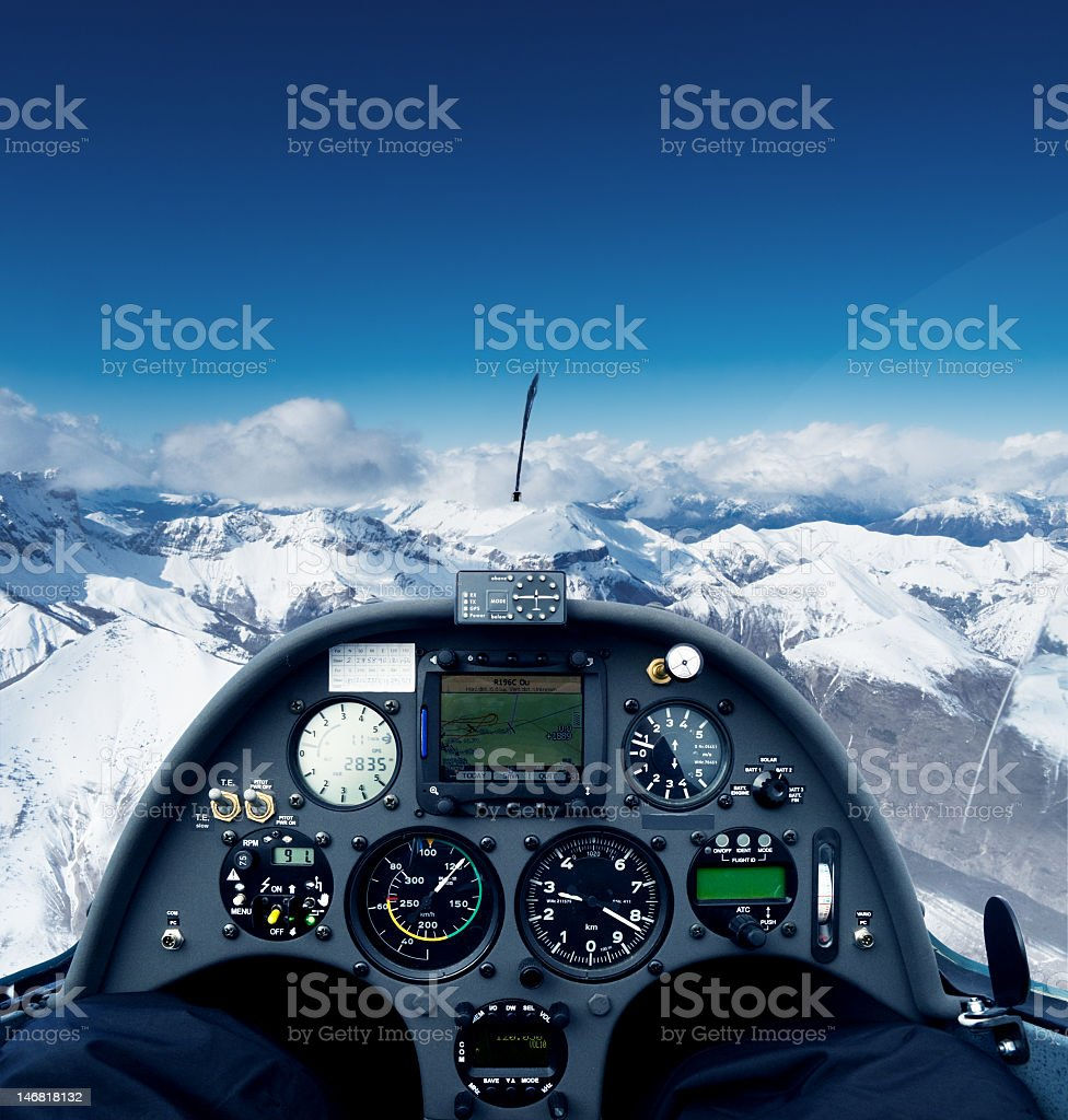 Glider over the alps stock photo