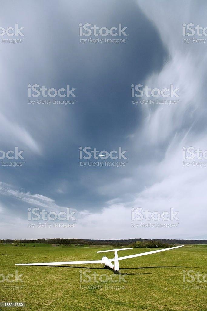 glider sailplane airport take off royalty-free stock photo