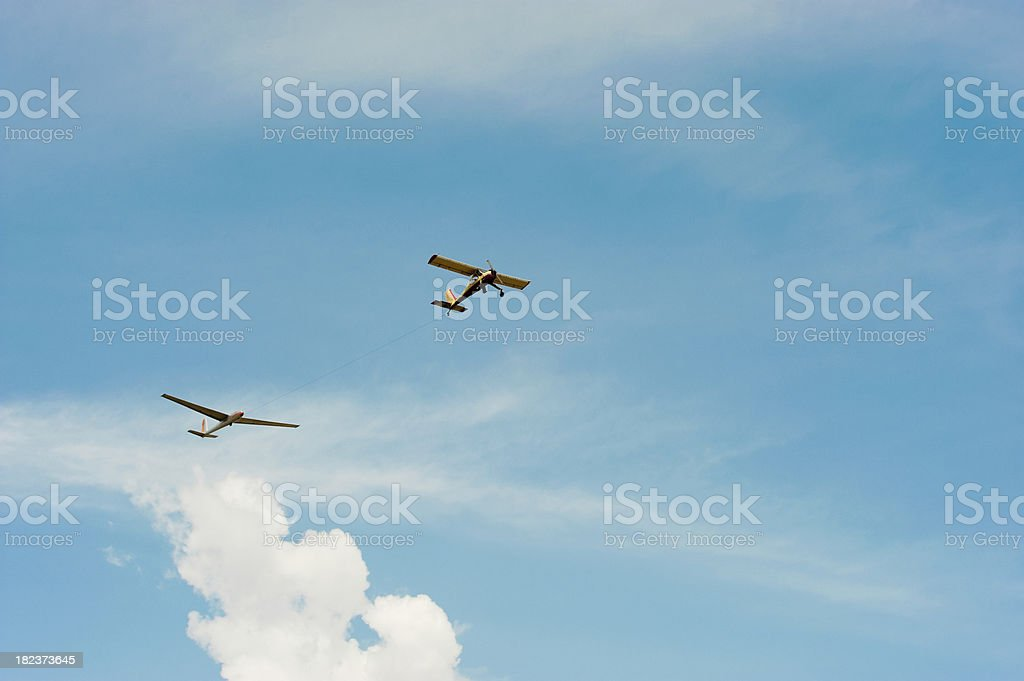 glider towing plane royalty-free stock photo