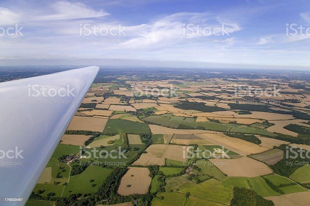 Glider wing landscape stock photo