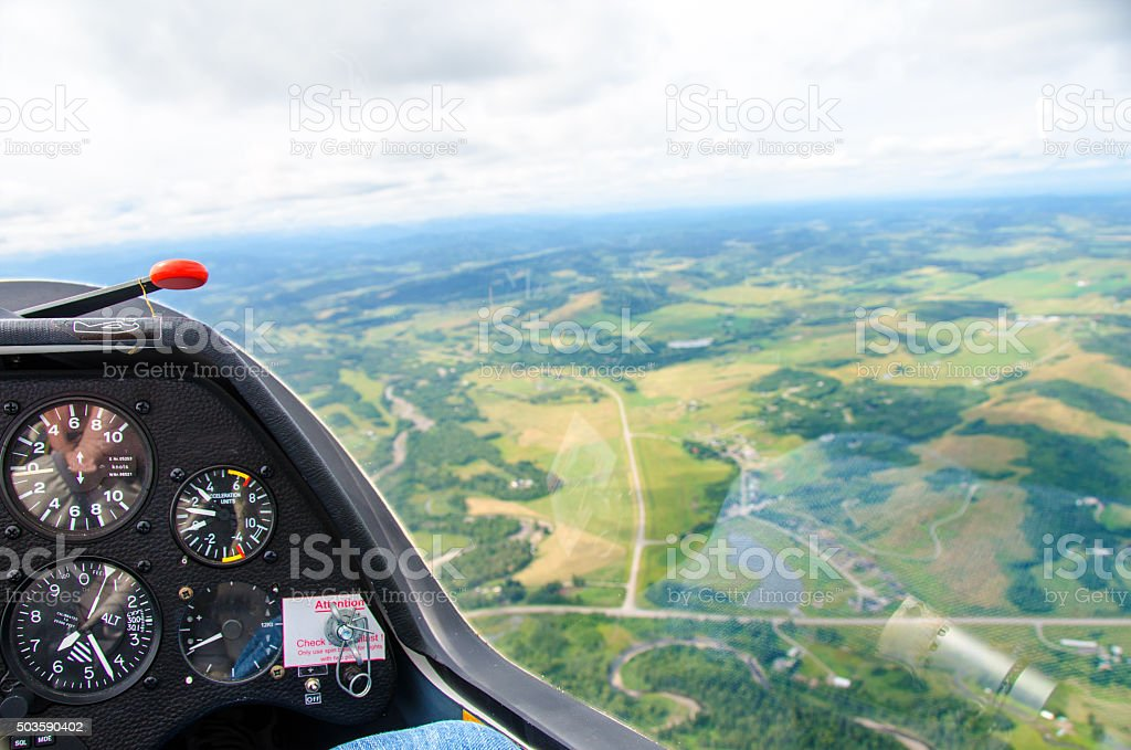 Glider with scenic view and control panel stock photo