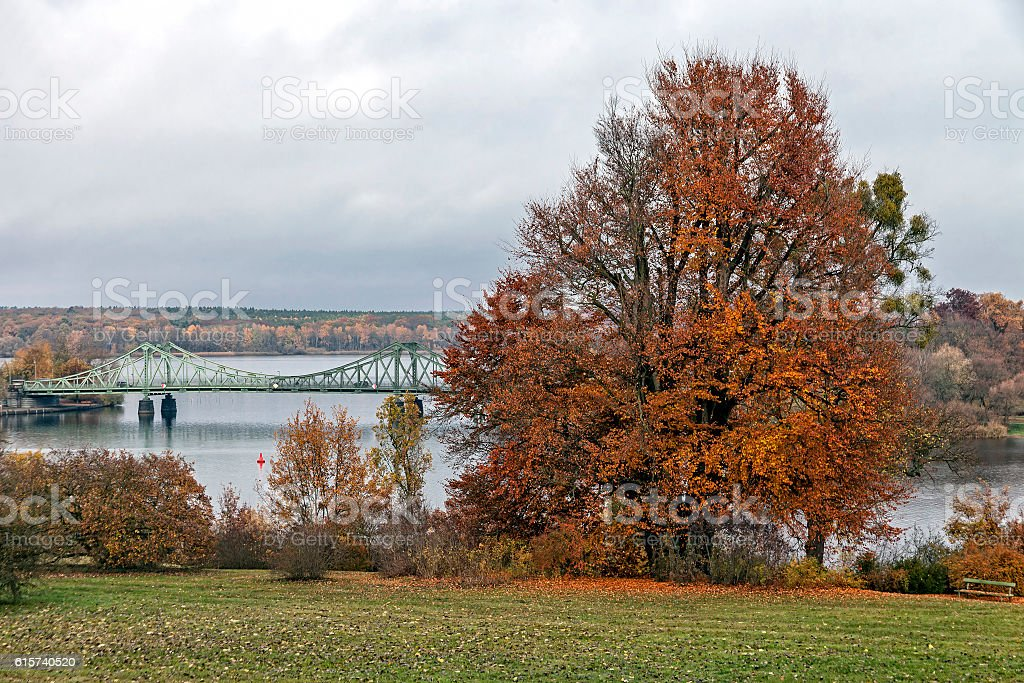 Glienicke Bridge in autumn stock photo
