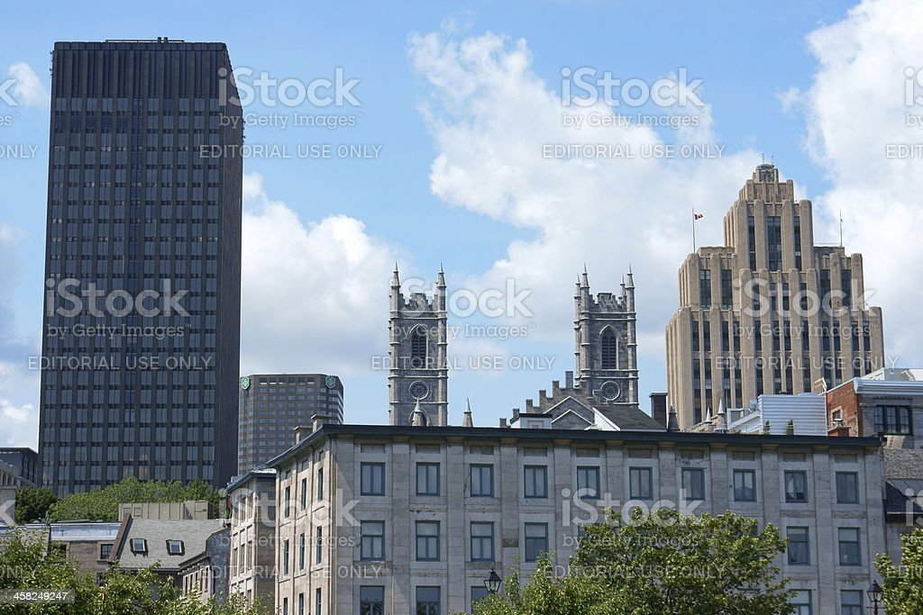 Glimpse of downtown Montreal stock photo