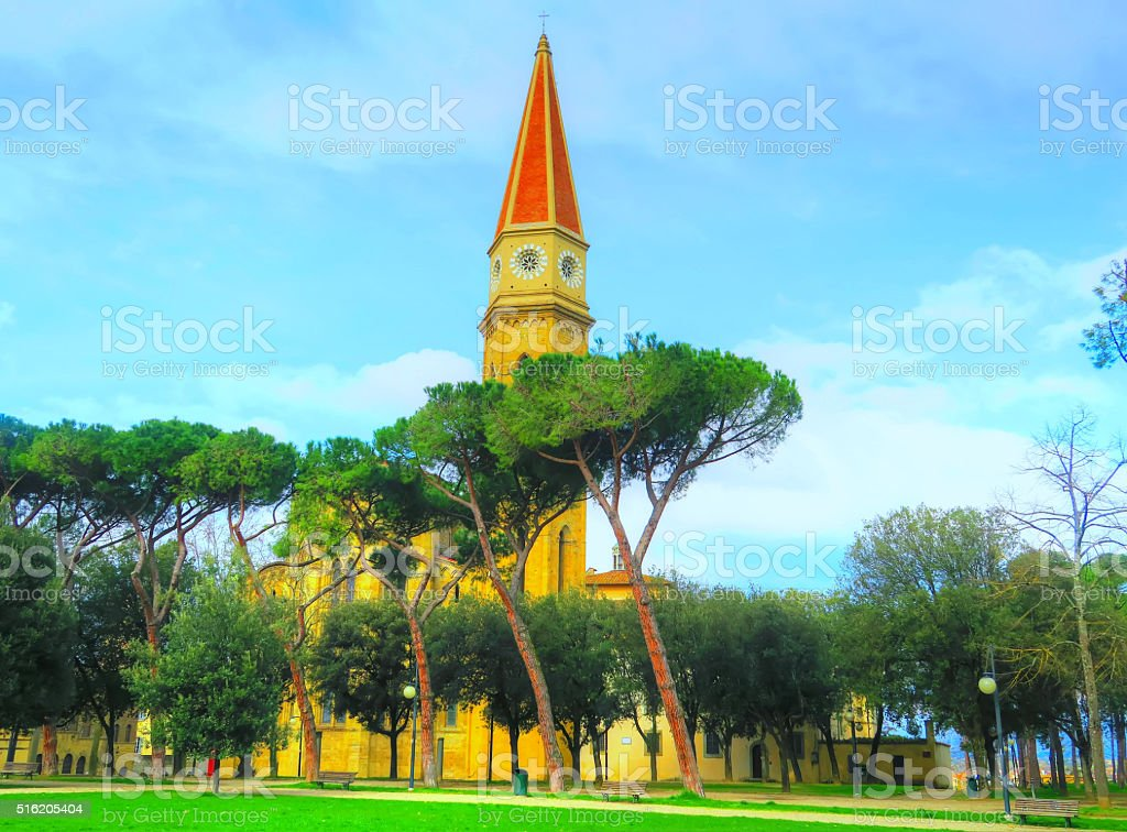 Glimpse of the cathedral bell tower, Arezzo, Italy stock photo