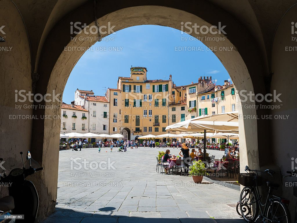 Glimpse on the 'Piazza dell'Anfiteatro', famous square in Lucca stock photo