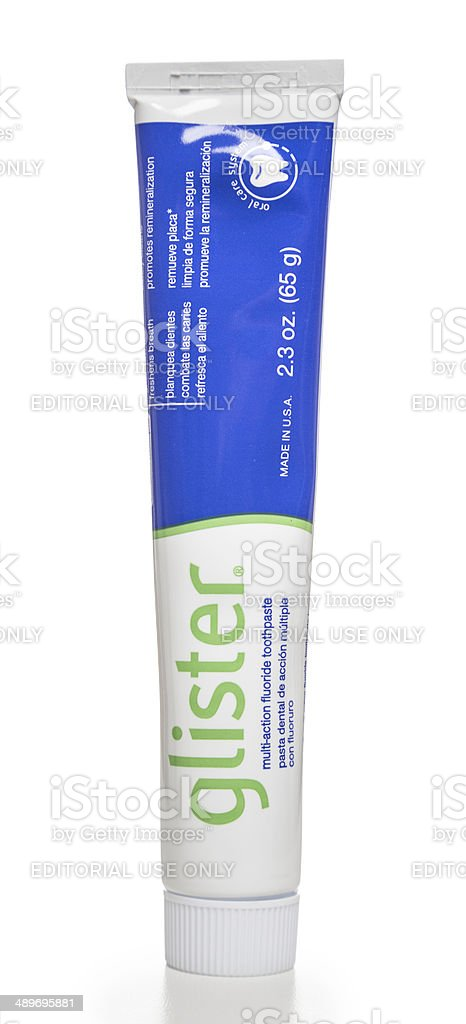 Glister fluoride toothpaste tube stock photo