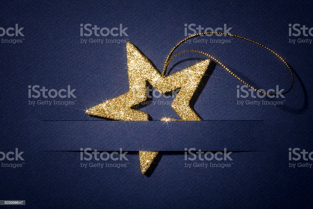 Glitter Christmas Star blue Paper Card Greetings Business Backgrounds Photo stock photo