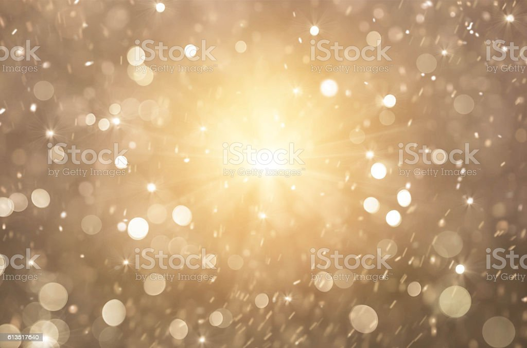 glitter golden lights background, christmas lights stock photo