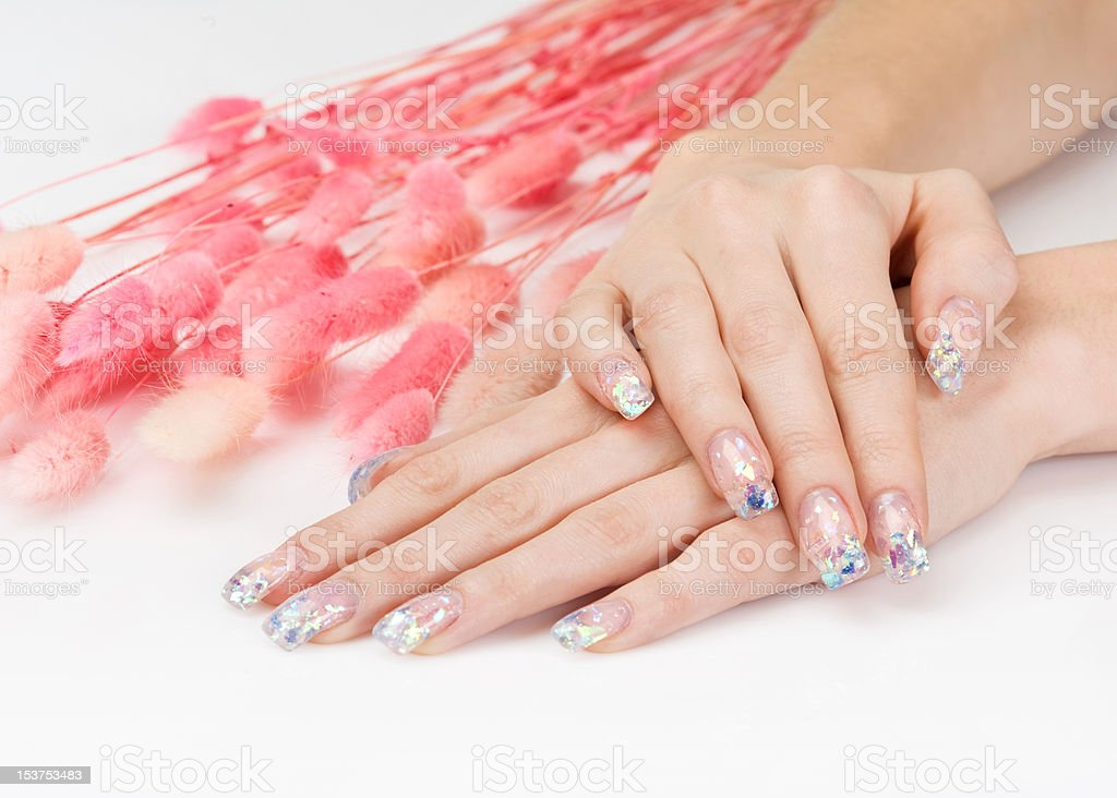 Glitter manicure and pink decoration royalty-free stock photo