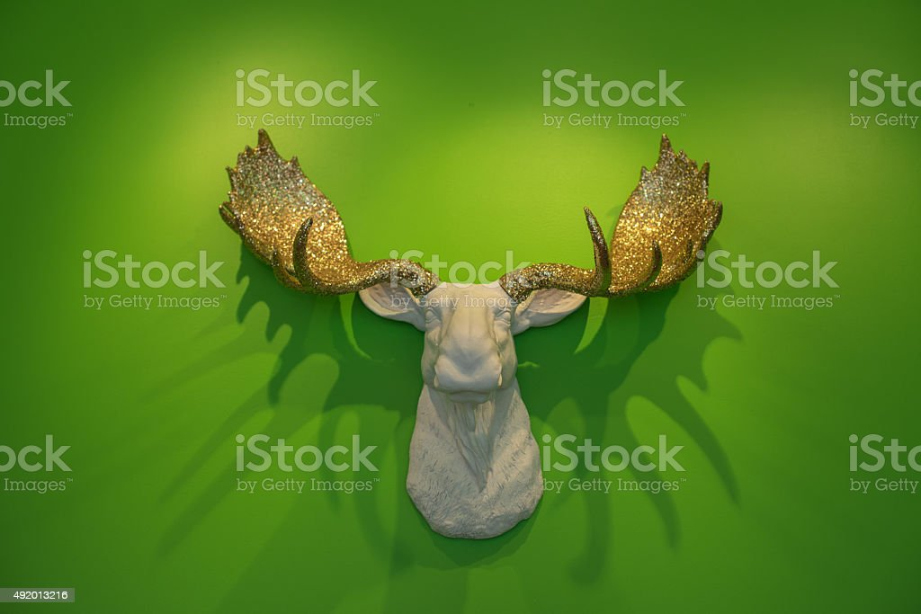 Glitter Moose Head Antlers stock photo