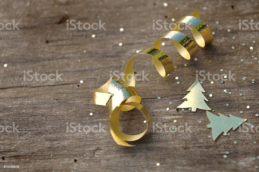 glitter, ribbon and confetti stock photo