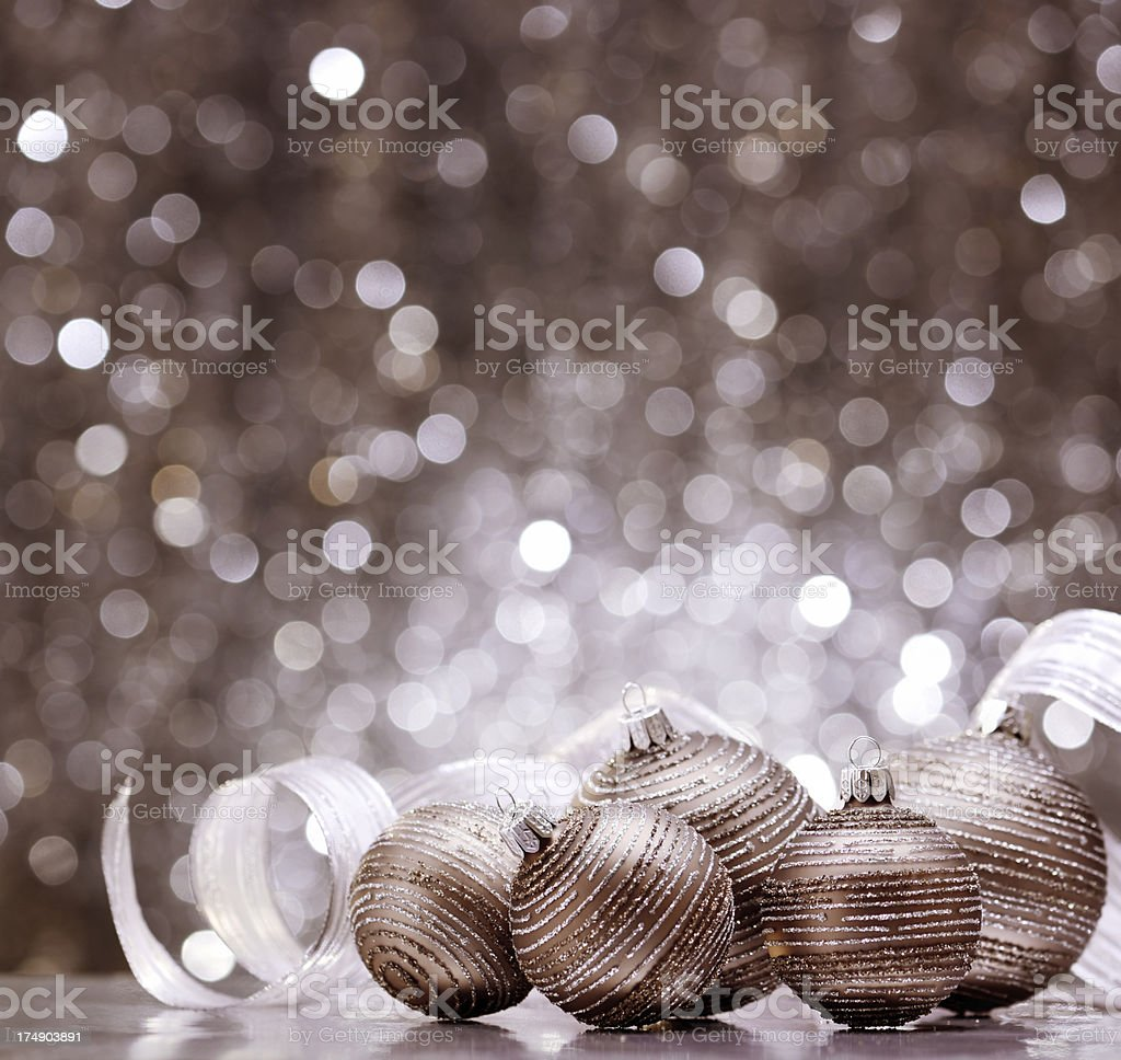 Glitter soft brown christmas balls with ribbon decoration royalty-free stock photo