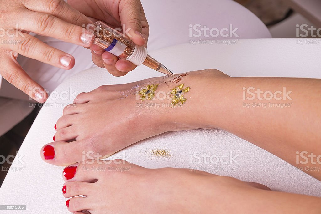 Glitter tattoo royalty-free stock photo