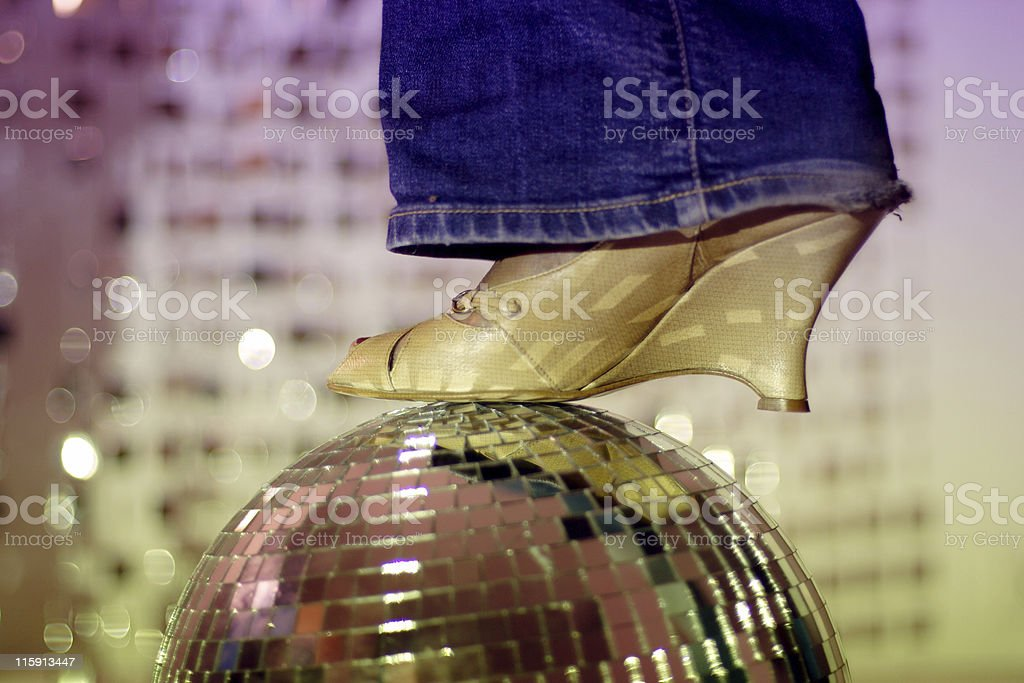 glitterball and shoe royalty-free stock photo