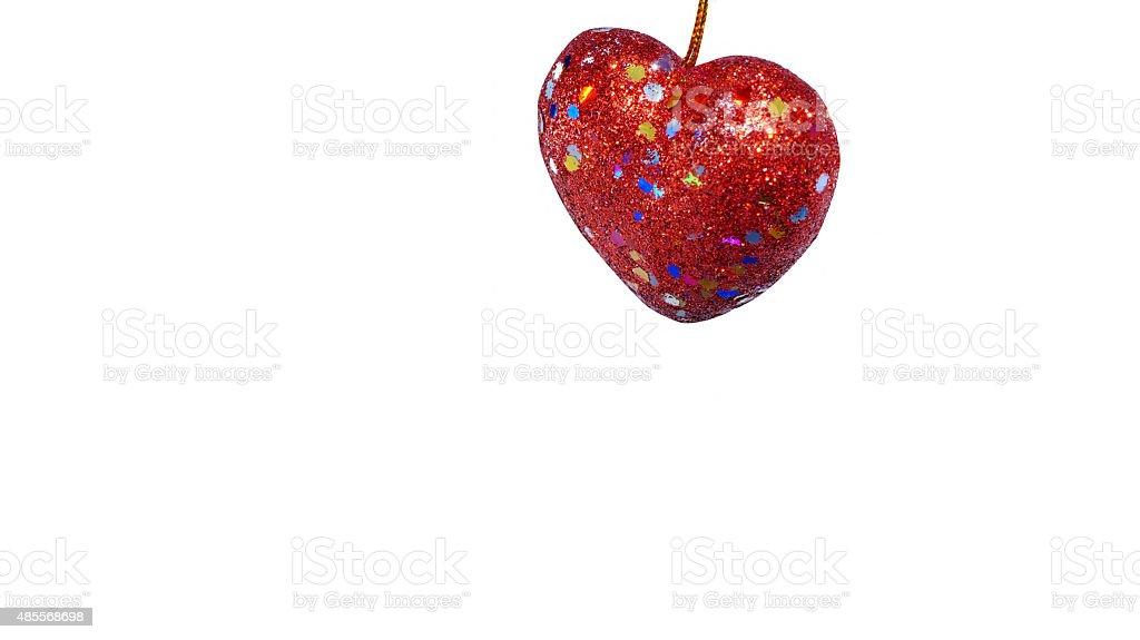 유광 붉은 심장부에/흰색 배경/격리됨에 royalty-free 스톡 사진