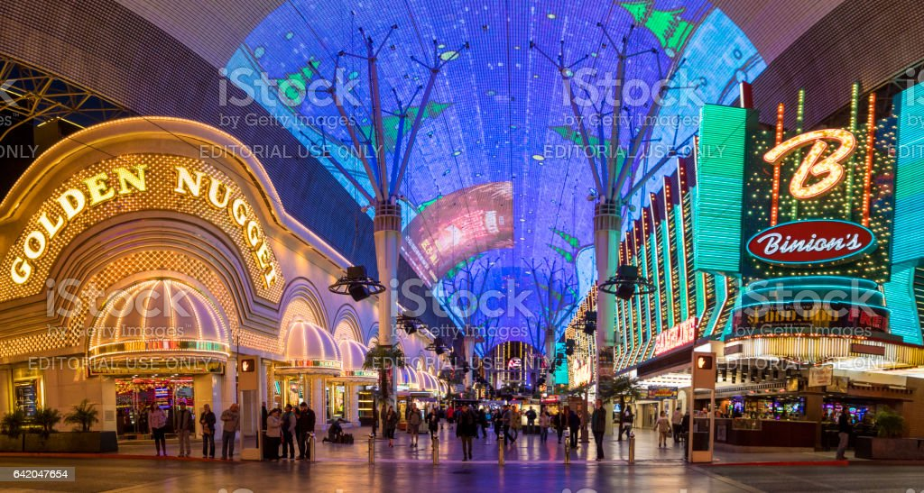 Glittering facades the Golden Nugget and Binion's Hotels and casinos of Fremont casino in downtown Las Vegas. stock photo