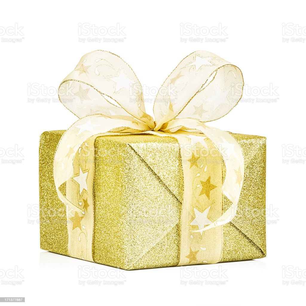 Glittering Golden Gift Box royalty-free stock photo