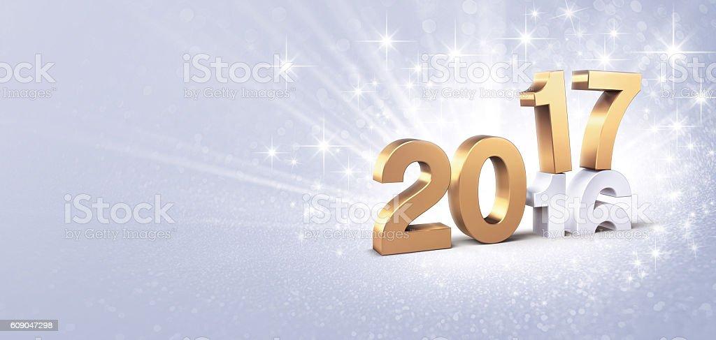 2017 glittering greeting card stock photo