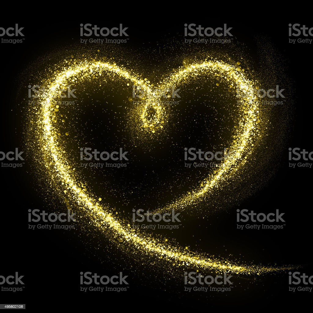 Glittering heart of gold cosmic dust tail stock photo