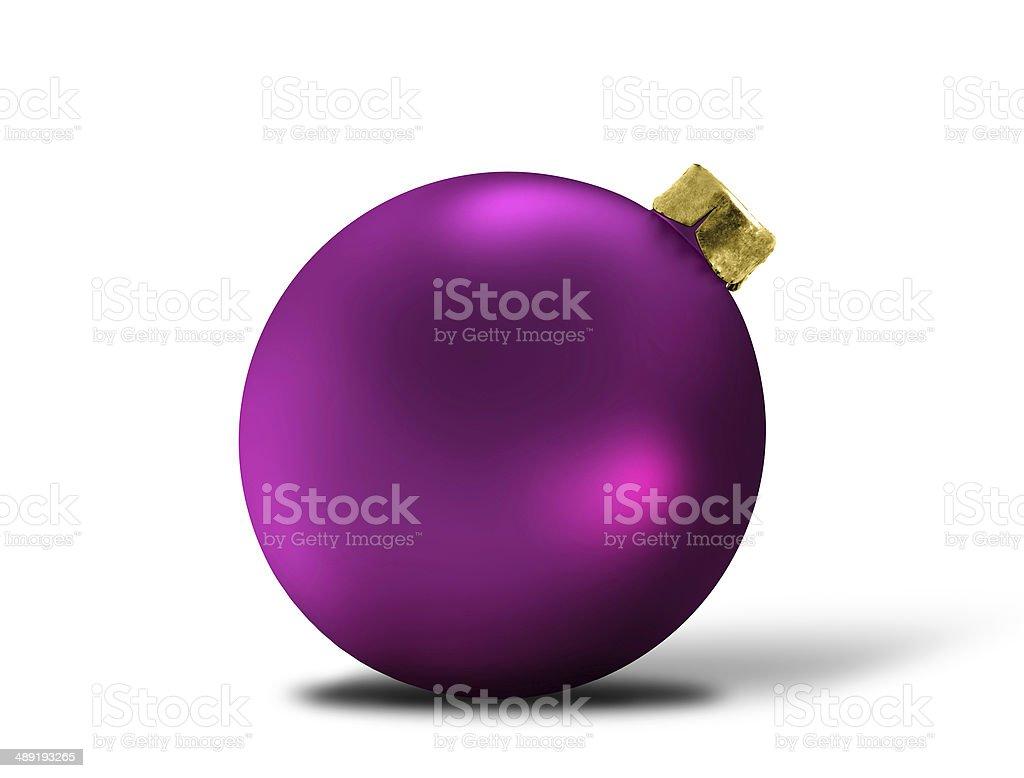 glittering purple christmas bauble over white stock photo
