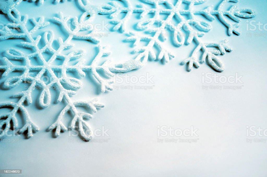 Glittering snowflakes, shallow DOF stock photo