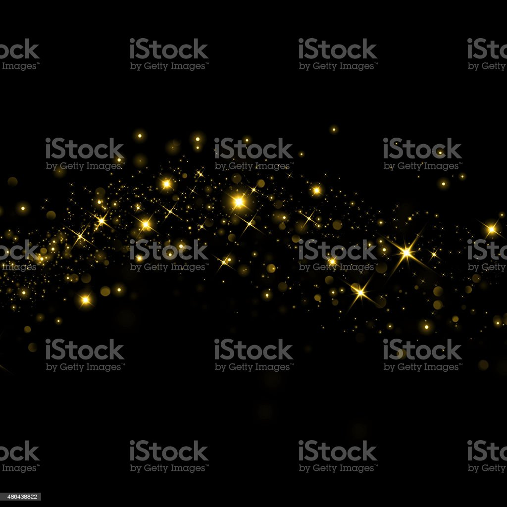 Glittering stars on bokeh background vector art illustration