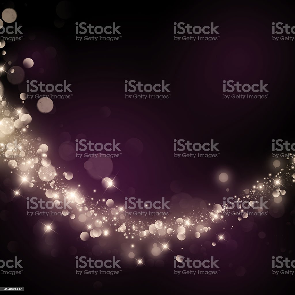 Glittering stars on bokeh background stock photo