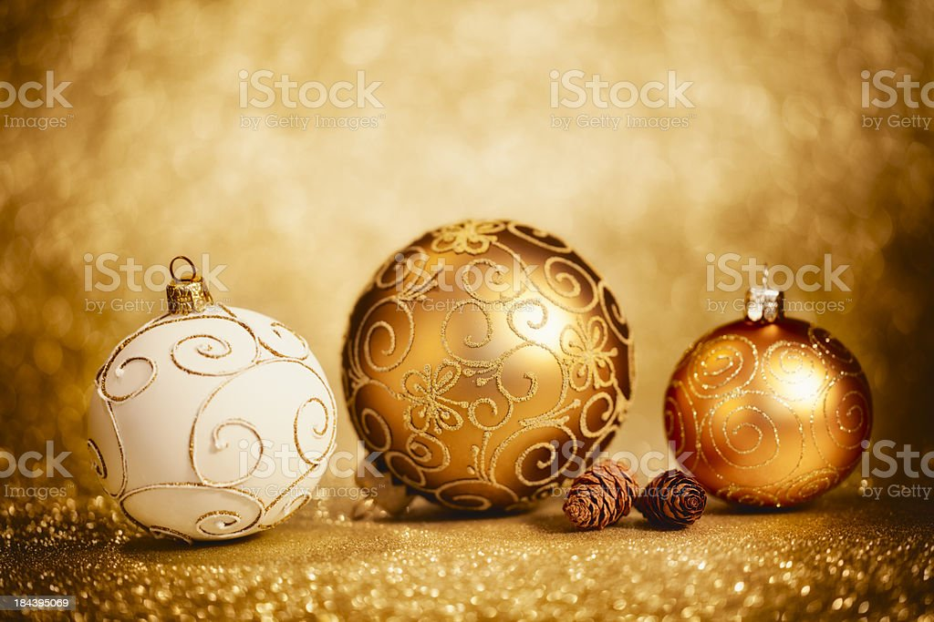 Glittery Christmas Baubles royalty-free stock photo
