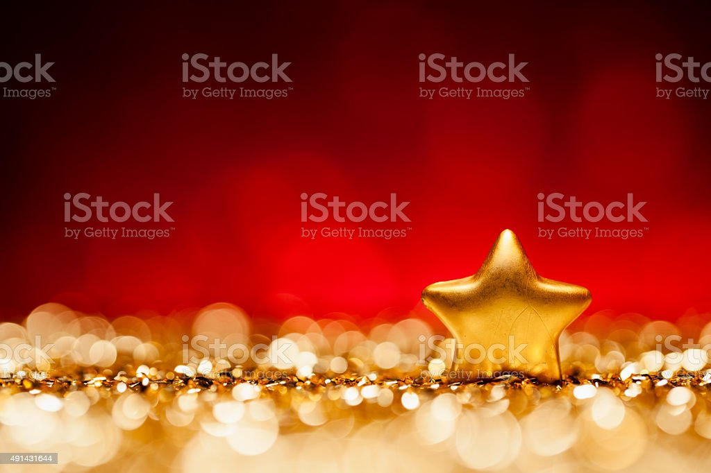 Glittery Christmas - Lights Bokeh Defocused Decoration Gold Red stock photo