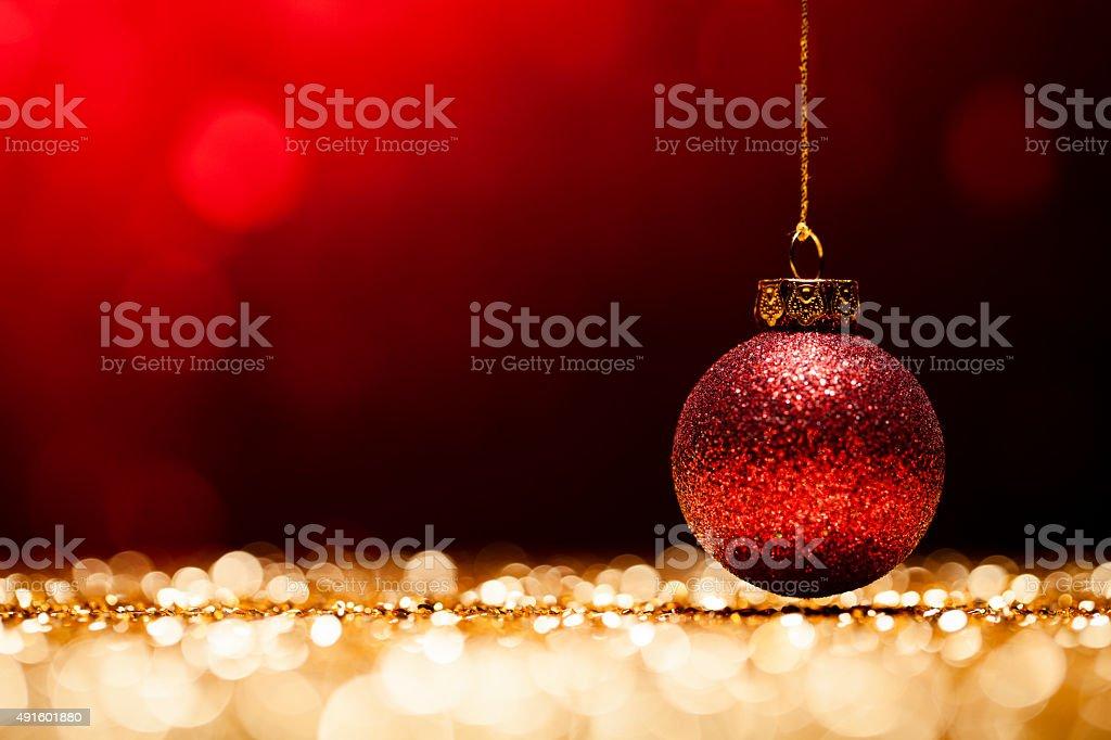 Glittery Christmas - Lights Bokeh Defocused Decoration Gold Red stock photo