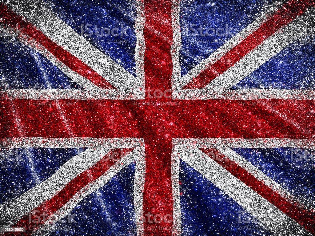 Glittery Union Jack Flag background stock photo