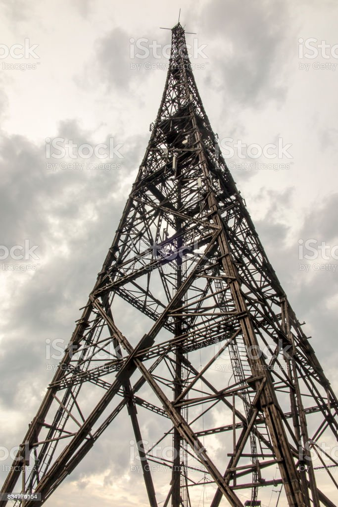 Gliwice Radio Tower (the highest wooden building on the world - 111m) stock photo