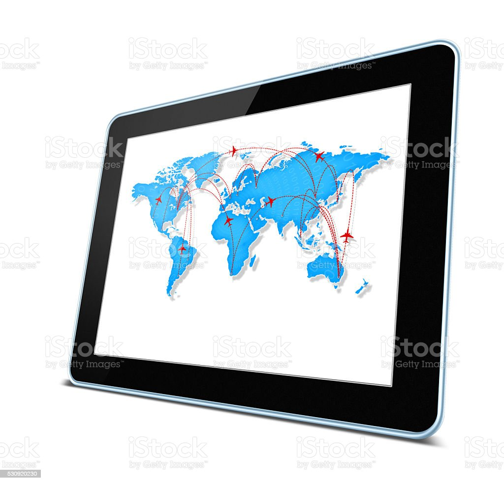 Global air traffic lines in digital tablet pc isolated stock photo