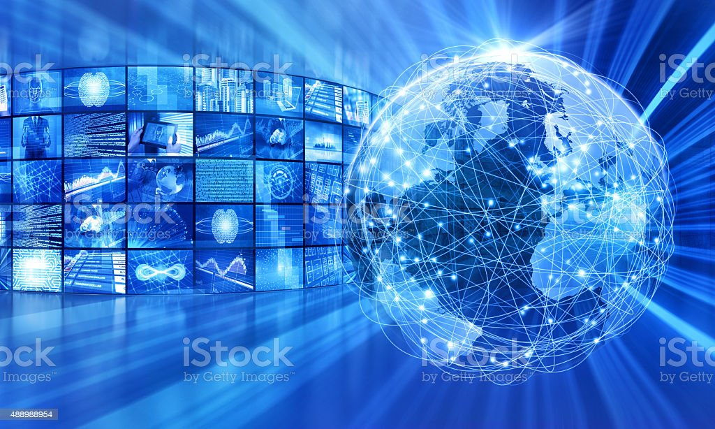 Global broadcasting and  telecommunications, video images around the world stock photo