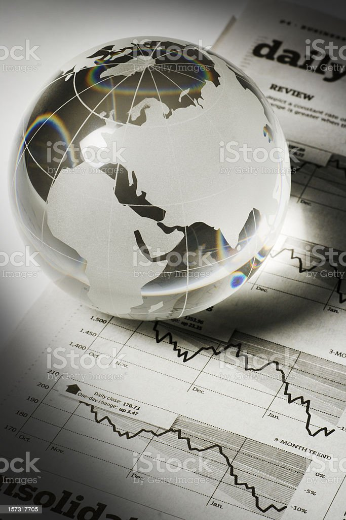 Global Business and Finance with Newspaper Investment Page Forecasting Economy royalty-free stock photo