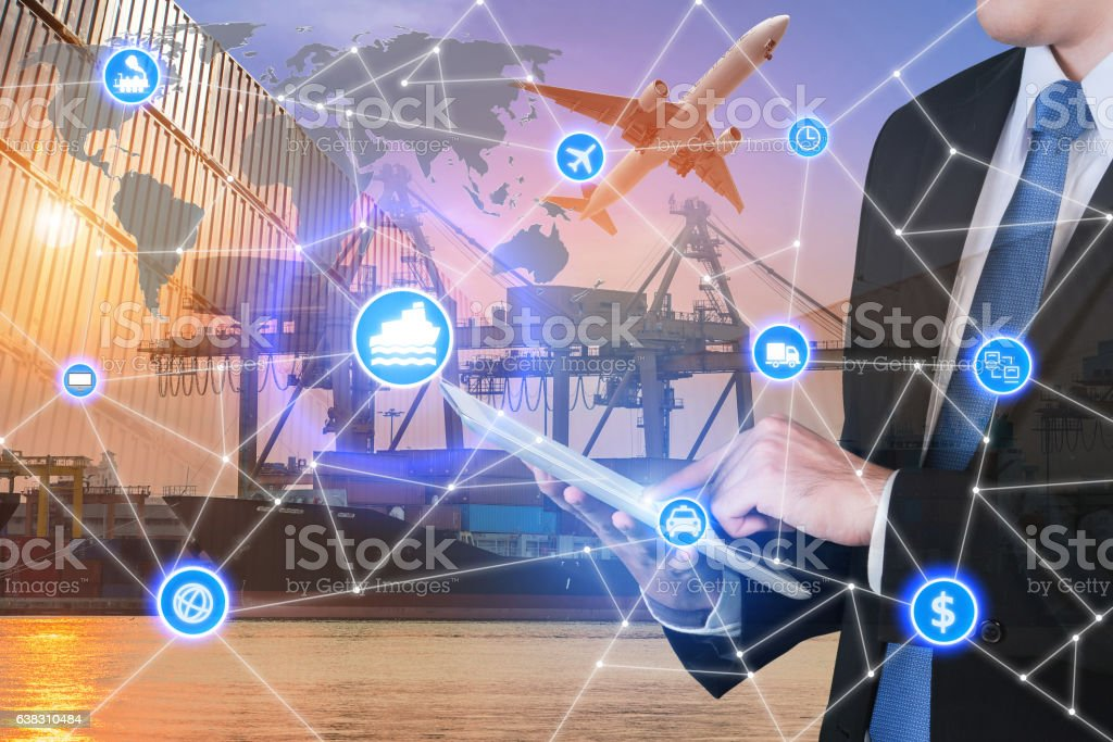 Global business connection technology interface global partner c stock photo