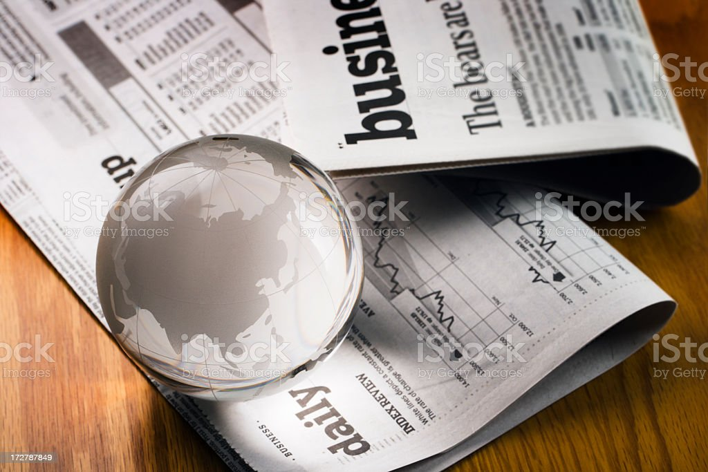 Global Business Financial Newspaper For Asian Economy in China, India stock photo